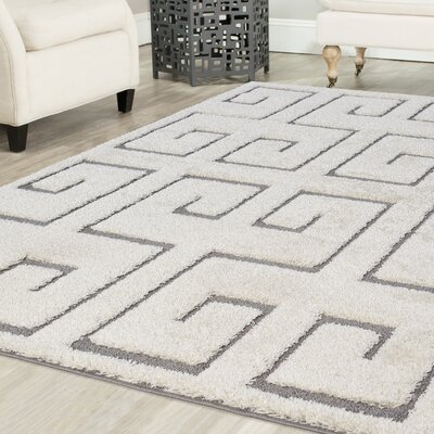 Orla Platinum Shag White Area Rug Rug Size: Rectangle 52 x 72