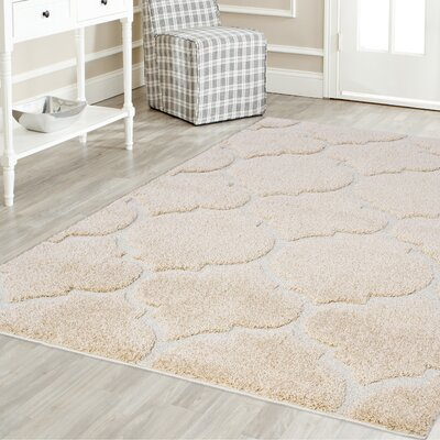 Beverly Platinum Shag Beige Area Rug Rug Size: Rectangle 4 x 6