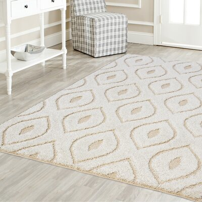 Darwin Modern Platinum Shag White Area Rug Rug Size: Rectangle 52 x 72