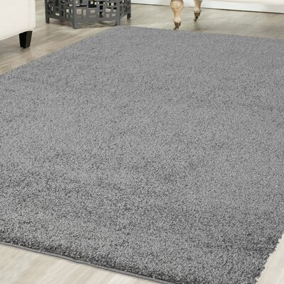 Rhys Platinum Shag Gray Area Rug Rug Size: Rectangle 4 x 6
