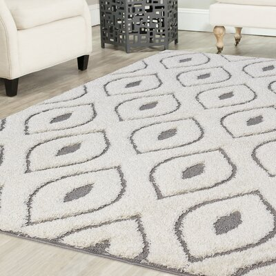 Darwin Platinum Shag White Area Rug Rug Size: Rectangle 4 x 6