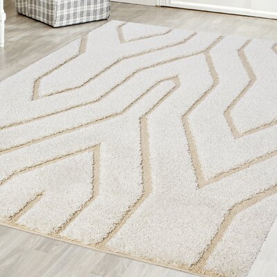 Briony Platinum Shag White Area Rug Rug Size: Rectangle 8 x 102