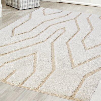 Briony Platinum Shag White Area Rug Rug Size: Square 6 x 6
