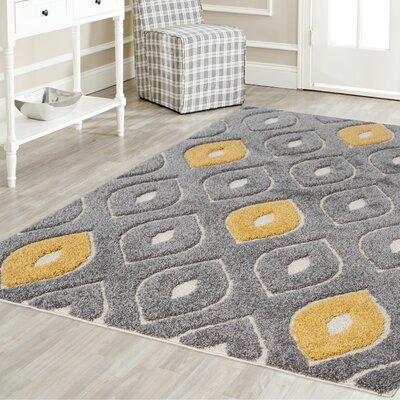 Darwin Platinum Shag Gray/Yellow Area Rug Rug Size: Rectangle 52 x 72