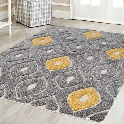 Artz Gray/Yellow Area Rug Size: 5 x 8