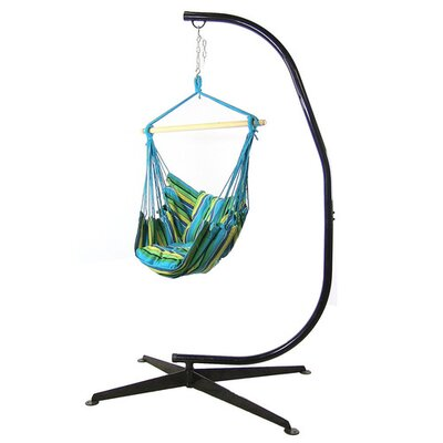 Cotton and Polyester Chair Hammock with Stand Color: Ocean Breeze