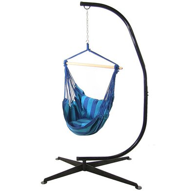 Cotton and Polyester Chair Hammock with Stand Color: Oasis