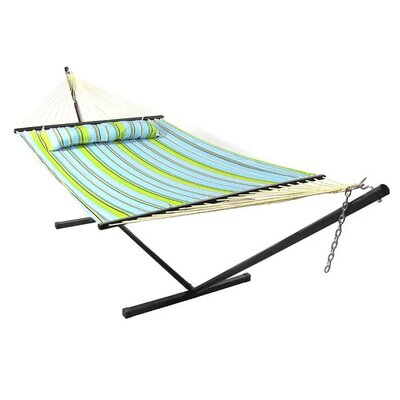 Polyester Hammock with Stand Color: Blue/Green, Size: 15