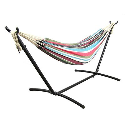 Cotton Hammock with Stand Color: Cool Breeze