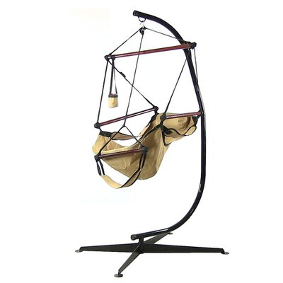 Polyester Chair Hammock with Stand Color: Tan