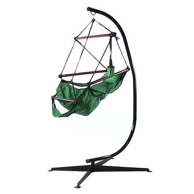 Polyester Chair Hammock with Stand Color: Green
