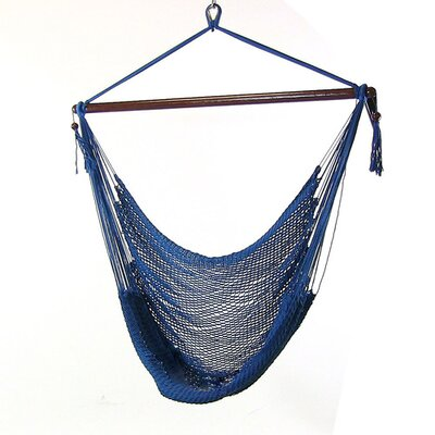 Caribbean Polyester Chair Hammock Color: Blue
