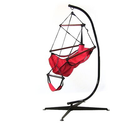 Polyester Chair Hammock with Stand Color: Red