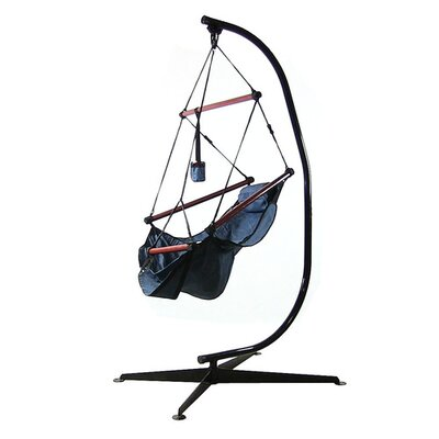 Polyester Chair Hammock with Stand Color: Blue