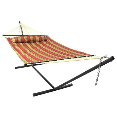 Polyester Hammock with Stand Color: Red Stripe, Size: 15