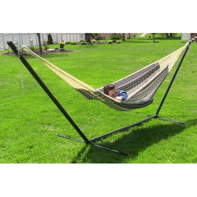 Cotton Hammock with Stand Color: Black / Natural