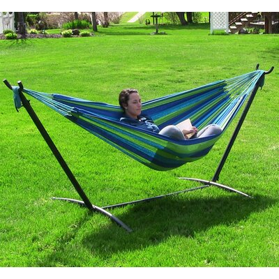 Cotton Hammock with Stand Color: Ocean Breeze