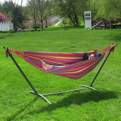 Cotton Hammock with Stand Color: Tropical