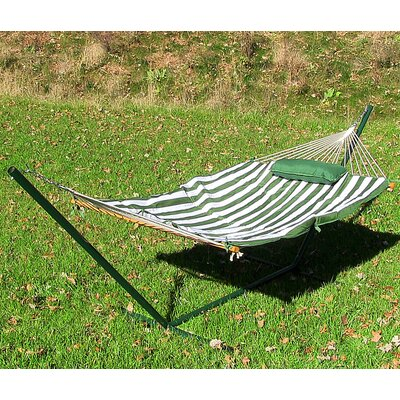 Cotton Hammock with Stand Color: Green and White