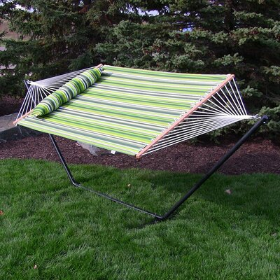 Quilted Double Fabric 2-Person Hammock with Stand Size: 48 H x 55 W x 128 D, Color: Melon Stripe