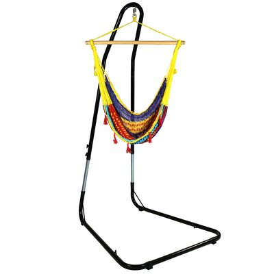 Mayan Chair Hammock with Stand Color: Multi-Color, Size: 93 H x 30 W x 36 D