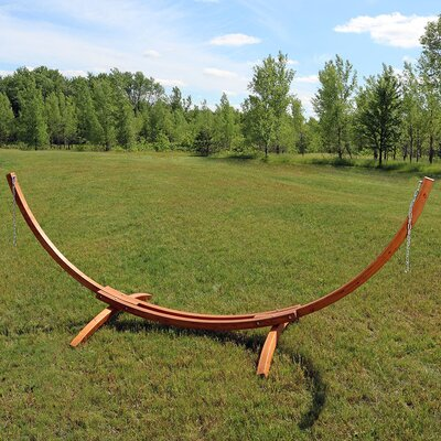 Curved Arc Wood Hammock Stand Size: 48 H x 47 W x 162 D
