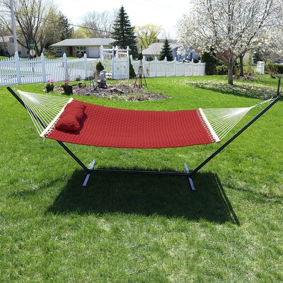 Quilted Designs Double Fabric 2 Person Hammock with Stand Color: Red