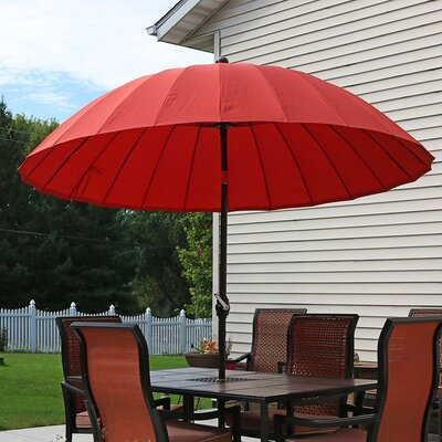 8 Shanghai Aluminum Beach Umbrella Fabric: Burnt Orange