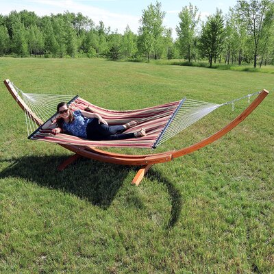 Solid Wood Curved Arc Polyester Hammock with Stand Color: Red Stripe, Size: 48 H x 55 W x 156 D