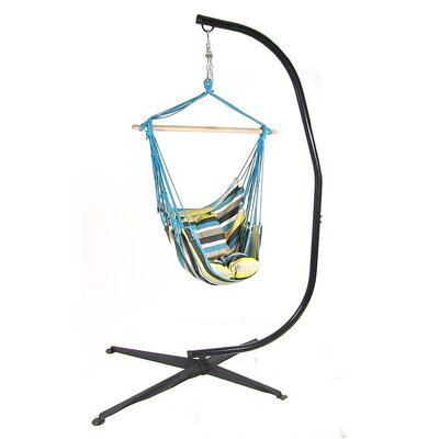 Cotton and Polyester Chair Hammock with Stand Color: Ocean View