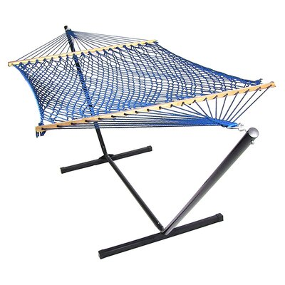 Caribbean Rope Hammock with Stand Color: Blue