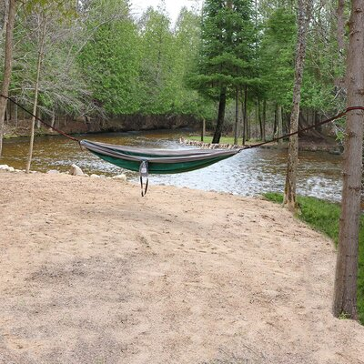 Portable Double Camping Hammock Color: Green/Gray