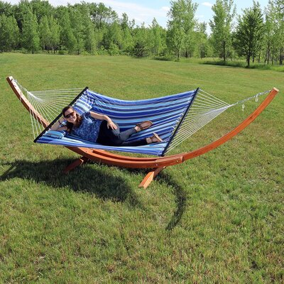 Solid Wood Curved Arc Polyester Hammock with Stand Color: Catalina Beach, Size: 51 H x 55 W x 130 D