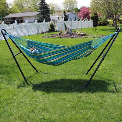 Brazilian Jumbo Double Hammock with Stand Color: Sea Grass