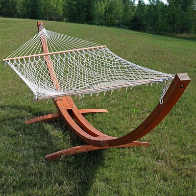Solid Wood Curved Arc Polyester Hammock with Stand