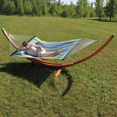 Solid Wood Curved Arc Polyester Hammock with Stand Color: Blue/Green, Size: 51 H x 55 W x 130 D