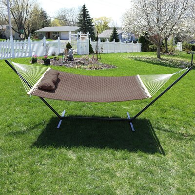 Quilted Designs Double Fabric 2 Person Hammock with Stand Color: Brown
