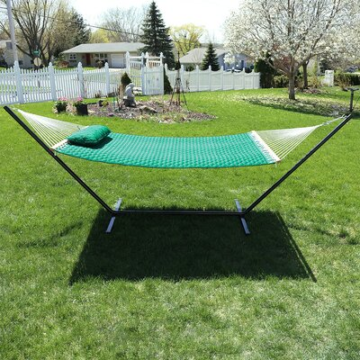 Quilted Designs Double Fabric 2 Person Hammock with Stand Color: Green