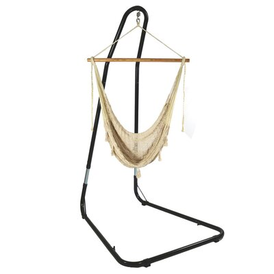 Mayan Chair Hammock with Stand Color: Natural, Size: 93 H x 30 W x 50 D