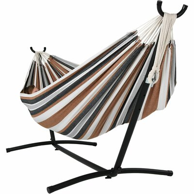 Brazilian Jumbo Double Hammock with Stand Color: Calming Desert