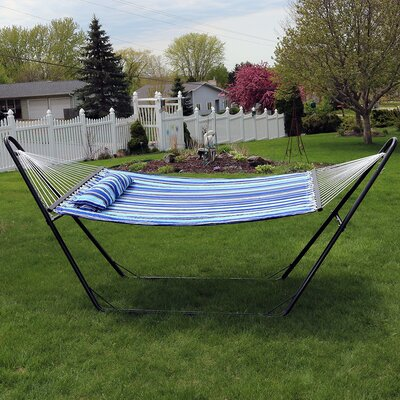 Quilted Double Fabric 2-Person Hammock with Stand Color: Catalina Beach