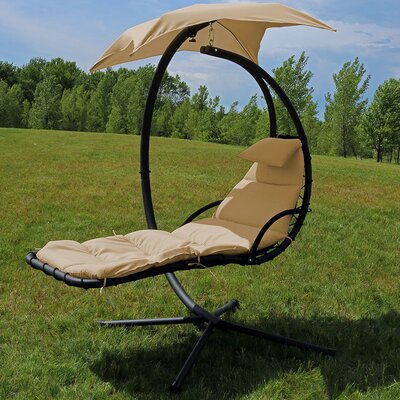 Hanging Chaise Lounger with Canopy Umbrella Color: Beige