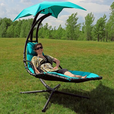 Hanging Chaise Lounger with Canopy Umbrella Color: Teal