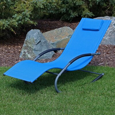 Rocking Wave Chaise Lounge with Pillow Finish: Blue