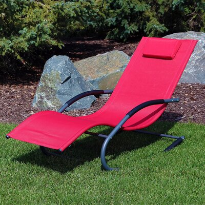 Rocking Wave Chaise Lounge with Pillow Finish: Red