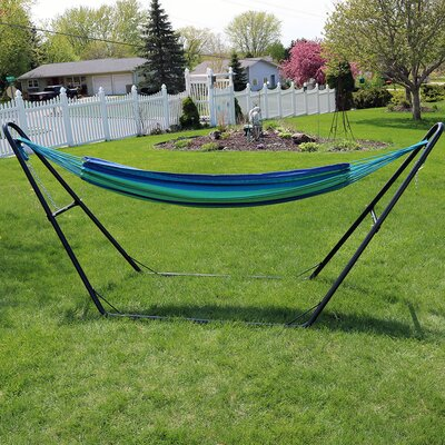 Brazilian Cotton Double Hammock with Stand Color: Beach Oasis