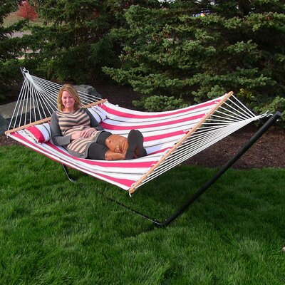 Quilted Double Fabric 2-Person Hammock with Stand Size: 48 H x 55 W x 156 D, Color: Peppermint Stripe