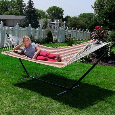 Quilted Double Fabric 2-Person Hammock with Stand Size: 48 H x 55 W x 156 D, Color: Rocky Beach