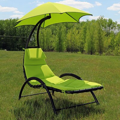 Chaise Lounge with Canopy and Removable Pad Fabric: Apple Green