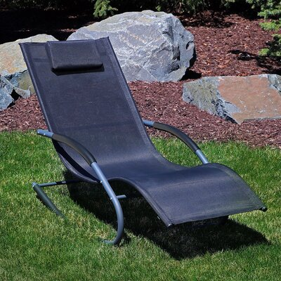 Rocking Wave Chaise Lounge with Pillow Finish: Black
